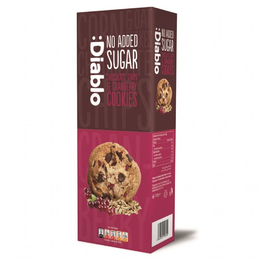 Chocolate Chips & Cranberry Cookies Biscuits - No Added Sugar Free Diablo 135g